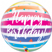 "Birthday Rainbow Stripes Bubble Balloon (22"") 1pc"